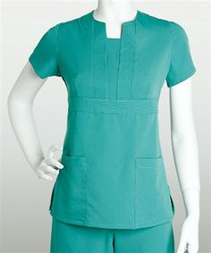 [Discontinued] Grey's Anatomy Scrubs - 2 Pocket Front Inset Top With Stitched Band Trim (Junior Fit)