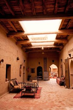 Morocco – Sahara: Kasbah Hospitality A Kasbah (traditional Moroccan home) in Morocco. (© Jonathan Reid) Wiki: A kasbah or Qassabah is a type of medina, Islamic city, or fortress (citadel). Moroccan Interiors, Moroccan Decor, Moroccan Style, Design Hotel, House Design, Mud House, Deco Restaurant, Adobe House, Rammed Earth