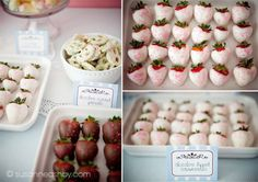 white chocolate dipped strawberries for a birthday tea party