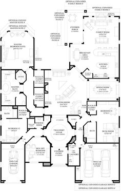 With a few adjustments, this might work for a more standard footprint, kind of a plan. ~ maybe eliminate the one car garage and the family room and then knock out the wall between the kitchen & dining/living areas ✔️ Dream House Plans, House Floor Plans, My Dream Home, Building Plans, Building A House, The Plan, How To Plan, Casa Patio, House Blueprints