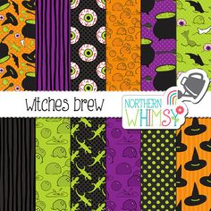 """Halloween Digital Paper - """"Witches Brew"""" - cauldron, witch hat, eyeball, and bubble patterns in lime green, orange & purple - commercial use"""