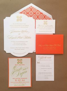Lime green, orange, and gold foil stamped wedding suite. Featuring the couple's custom wedding monogram, save the date, and die-cut wedding invitation I Custom by Nico and Lala