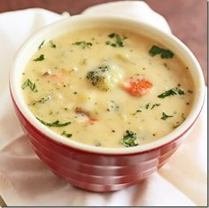 Broccoli soup- I used low fat sour cream and medium cheddar. Most of the broccoli was the stalks with a few florets. YUMMY!