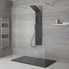 Milano Orton - Modern Exposed Shower Tower Panel with Shelf, Large Shower Headm Hand Shower and Body Jets - Black Bathroom Shop, Big Bathrooms, Modern Bathroom, Minimal Bathroom, Marble Bathrooms, Contemporary Bathrooms, Bathroom Vanities, Small Bathroom, Master Bathroom