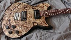 Maya calendar electric guitar made by Psujek Arts
