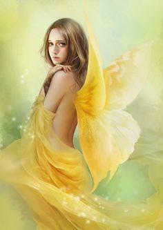 beautiful fairy in golden yellow Fairy Dust, Fairy Land, Fairy Tales, Magical Creatures, Fantasy Creatures, Animated Gifs, Angeles, Kobold, Elves And Fairies