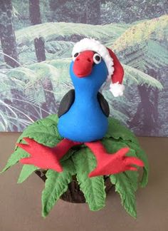 On the first day of christmas, my true love gave to me . a Pukeko in a Ponga Tree (tra la la) Summer Christmas, 25 Days Of Christmas, Christmas Crafts For Gifts, Christmas Activities, Christmas Art, Christmas Themes, Christmas Ornaments, Christmas Cake Topper, Christmas Cake Decorations