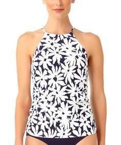 6d59f6bb25258 This Navy & White Floral High-Neck Halter Tankini Top is perfect! #