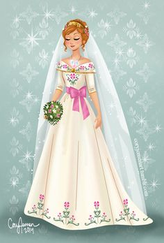 "confusedfantasy: ""coryjensenart: "" A design of what I think Anna might wear at her wedding! :) "" I'd like to think that Elsa makes her veil out of the same magic that made her long trailing cape of her ice dress. Anna wants something to wear to keep..."