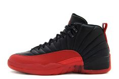 39396f2e9492e Mens Air Jordan 12 Retro Flu Game Black Varsity Red First Air Jordans