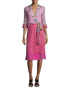 DIANE VON FURSTENBERG Nieves Zen Scarf Wrap Dress, Multicolor. #dianevonfurstenberg #cloth #
