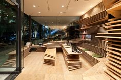 kengo kuma develops shun*shoku lounge for gurunavi in osaka, japan