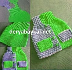 This Pin was discovered by Mar Baby Knitting Patterns, Baby Sweater Patterns, Knitting For Kids, Crochet For Kids, Crochet Hooded Scarf, Knit Crochet, Crochet Baby Sweaters, Knitted Hats, Kids Vest