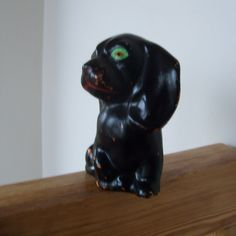 Vintage Green Eyed Dog Ceramic Figurine by lookonmytreasures on Etsy