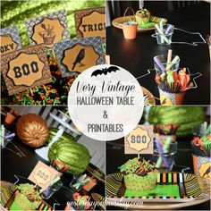 Vintage Halloween Printables and Tablescape #halloween #halloweenprintables #halloweenparty