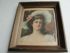 Beautiful Young Girl- Vintage Early 1900's – Original Hand-Colored Art Print Lithograph - Framed with NO Glass. RARE!
