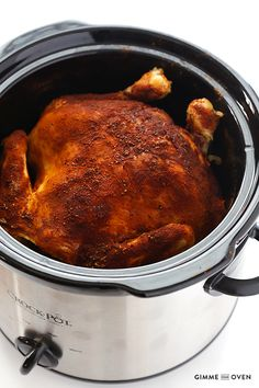 "Slow Cooker ""Rotisserie"" Chicken -- all you need are 5 minutes to prep this recipe! 