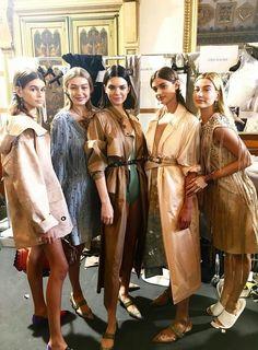 Kendall, Kaia, Gigi, Taylor and Hailey backstage at the Bottega Veneta, SS18 Fashion Show in Milan.