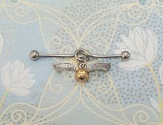 Flying Ball Industrial, ear barbell, inspired by Harry Potter Snitch