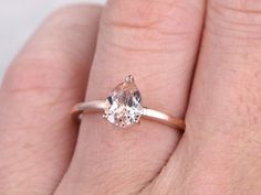 6x8mm Pear Cut Morganite Engagement ring Rose gold,Plain gold band,14k,Solitaire ring,Gemstone Promise Bridal Ring,Prongs,Pear shaped