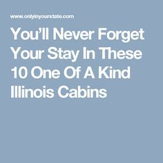 You'll Never Forget Your Stay In These 10 One Of A Kind Illinois Cabins