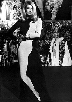 Catherine Deneuve by Helmut Newton, 1966.Robe Yves Saint Laurent Collection Pop Art ....