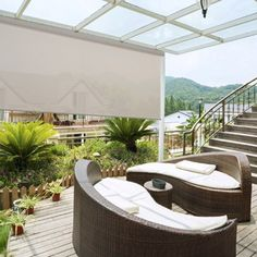 These outdoor solar screen roller shades are perfect for outdoor patios as they reduce the sun's glare and help protect your outdoor furnishings.  Shown here with 1% Openness.