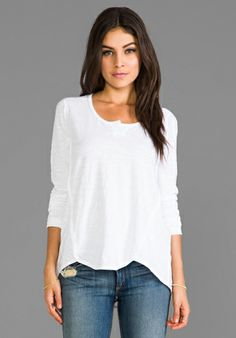 WILT Long Sleeve Shrunken Henley Shirttail in at Revolve Clothing - Free Shipping!