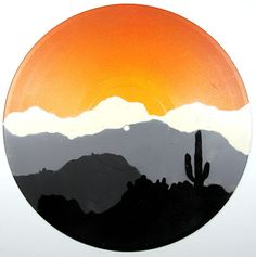 Items similar to Original Painting - Desert Mountains - Pop Art Graffiti On Vinyl Record on Etsy Cute Canvas Paintings, Small Canvas Art, Original Paintings, Aesthetic Painting, Aesthetic Art, Vinyl Art, Vinyl Record Crafts, Vinyl Decals, Wall Decals