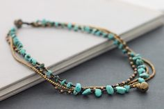 Turquoise Layer Necklace by XtraVirgin on Etsy, $15.00