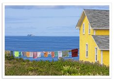 Apparently, this is the coast of France. Looks like Newfoundland Labrador, Canada Quebec, Jig Saw, Newfoundland And Labrador, Newfoundland Canada, Yellow Houses, Painting Inspiration, Hanging Out, Beautiful Places, Scenery