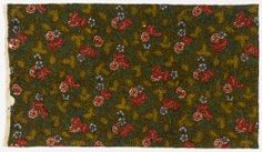 Textile Oberkampf * ca. 1800 cotton - block printed (reds, yellows and black), blue may have been applied by brush on plain weave Curving stems with roses surrounded by a tiny leaf pattern on a dark background.