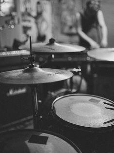 black white photo ~ drums
