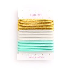 fantastic hair elastics - metallic gold / white / turquoise mermaid