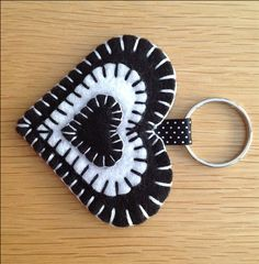 Black & White Felt Heart Keyring Bag Charm - folksywedding £2.00