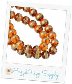 60   Orange Beads with Gold Trim  Sku523 by HazyDaizySupply, $4.00