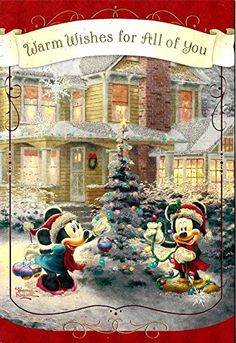 Mickey Mouse and Minnie Mouse Thomas Kinkade Christmas New Year Greeting Card with Gift Bag Christmas Scenes, Christmas Pictures, Christmas Art, Christmas Greetings, Vintage Christmas, Thomas Kinkade Christmas, Thomas Kinkade Disney, Disney Crafts, Disney Fun