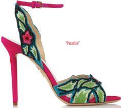 Charlotte Olympia satin embellished ankle strap sandal