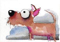 ACEO Original watercolor art whimsical animal painting pet dog puppy walkies #Folkartillustration