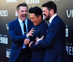 John Cho, Chris Pine and Karl Urban