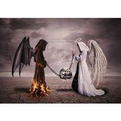 AJ Fortuna: The Relationship Between Good and Evil Ange Demon, Demon Art, Evil Angel, Angel And Devil, Vs Angels, Angels And Demons, Fallen Angels, Dark Fantasy Art, Dark Art