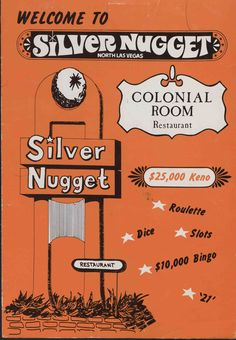 """The Colonial Room Restaurant menu for the Silver Nugget Restaurant in Las Vegas, circa 1950-1980.  Image is a part of UNLV Libraries """"Menus: The Art of Dining"""" digital collection."""