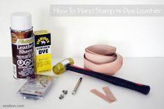 How to Hand Stamp and Dye Leather Tutorial on Sewbon at… Diy Leather Stamp, Leather Diy Crafts, Leather Dye, Leather Projects, Leather Tooling, Leather Crafting, Leather Cuffs, Leather Jewelry Tutorials, Leather Tutorial