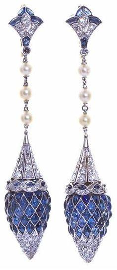 Art Deco Diamond Sapphire earrings