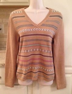 IZOD Size S V-Neck FAIR ISLE Sweater TAN 100% Cotton VGUC! Discount Clothing, Christmas Sweaters, V Neck, Best Deals, Cotton, Clothes, Shopping, Women, Fashion