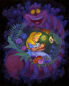 "Fairy Tale Mood / Martin Hsu, WonderGround Gallery ""Alice in Slumberland"" shows Alice singing a sweet lullaby to one she treasures and loves – her cat Dinah. Sometimes the most curious dream reminds us that life is truly beautiful. Deco Disney, Arte Disney, Disney Love, Disney Magic, Disney Art, Disney Pixar, Pinocchio Disney, Lewis Carroll, Chesire Cat"