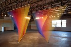Rainbow thread installations by Gabriel Dawe
