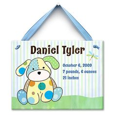 """Precious Pup"" Personalized Ceramic Tile (Blue)"