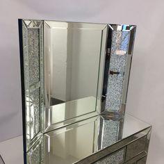 Diamond Glitz Vanity Dressing Table Mirror Dressing Table With Stool, Dressing Table Mirror, White Vanity Mirror, Mirrored Vanity, Vanity Mirrors, Vanity Room, Mirrored Bedroom Furniture, Bedroom Decor, Diamond Furniture