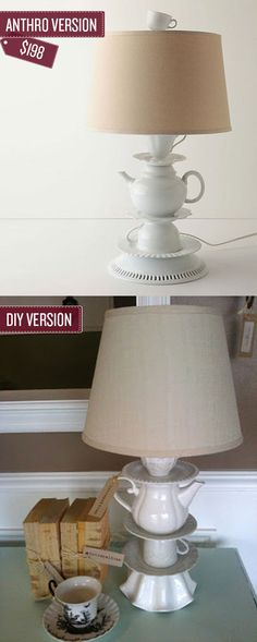 Build a tea cup lamp. | 38 Anthropologie Hacks. Cool idea! The tutorial is here. Enjoy!